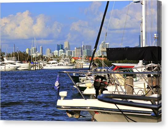 Boats And Miami Canvas Print by Dieter  Lesche