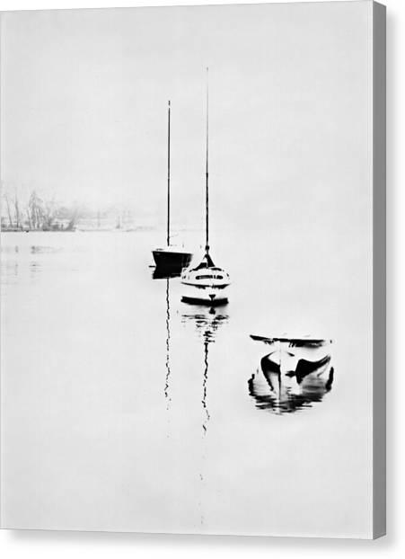 Boats On Foggy Lake Lucerne Canvas Print