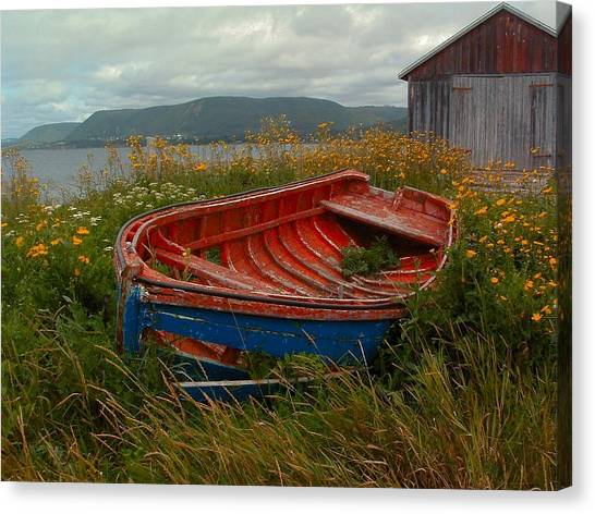 Boats  Shore In Time Canvas Print