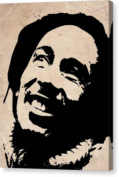 Bob Marley Grey And Black Canvas Print by Naxart Studio