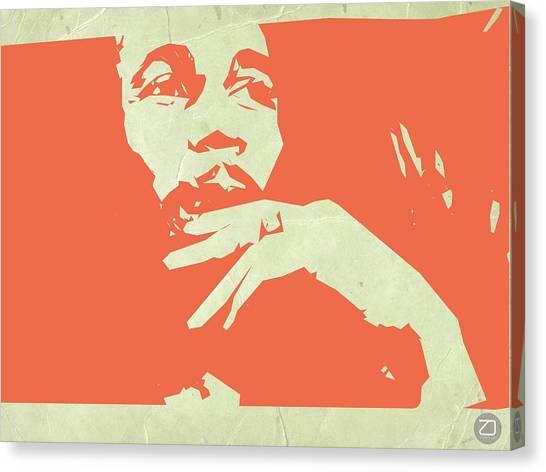 Jamaican Canvas Print - Bob Marley Orange by Naxart Studio
