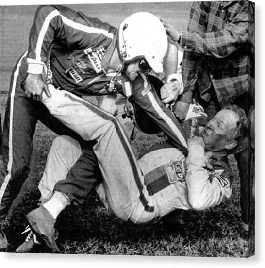 Daytona 500 Canvas Print - Bobby Allison Lfights With Cale by Everett