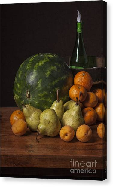 Bodegon - Watermelon-pears And Cooler Canvas Print