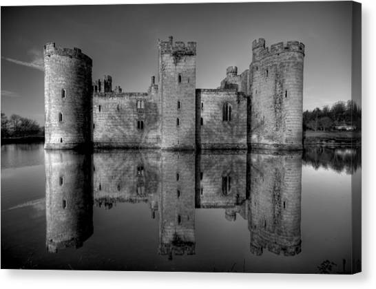 Bodiam Castle In Mono Canvas Print by Mark Leader