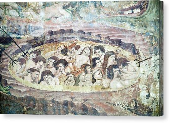 Boiling In Hell, 14th Century Fresco Canvas Print by Sheila Terry