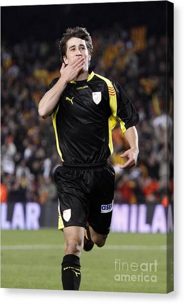 Bojan Krkic Celebrating A Goal 2 Canvas Print