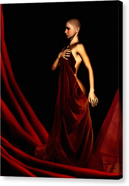 Breast Cancer Canvas Print - Bold And Red by Lourry Legarde