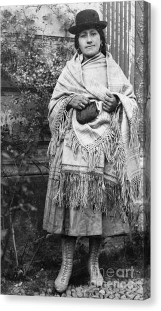Bolivian Canvas Print - Bolivian Woman Posing 1911 by Padre Art