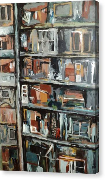 Bombed Beirut Building Canvas Print by Shelli Finch