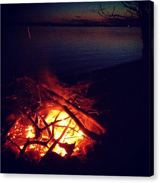 Flames Canvas Print - Bonfire On The Lake by Kelly Diamond