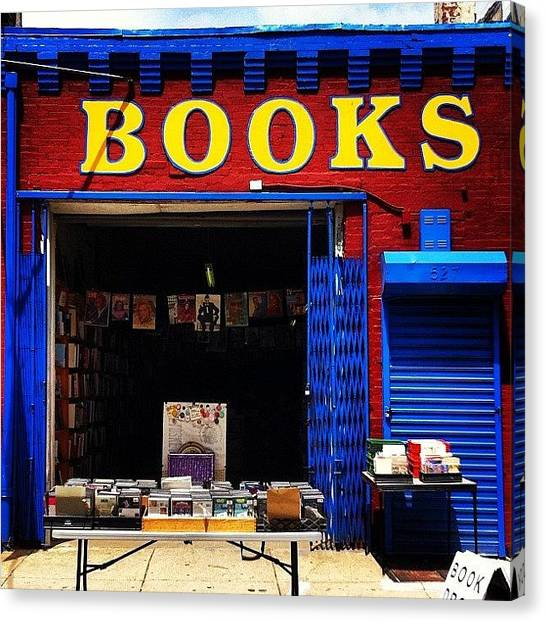 Philadelphia Canvas Print - #books #magazines #blue #red #vintage by Elizabeth DeMartino