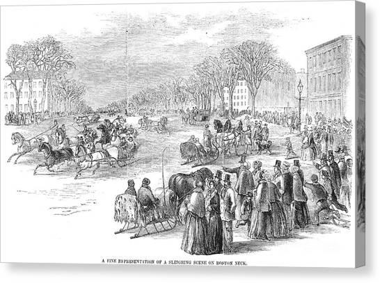 Sleds Canvas Print - Boston: Sleighing, 1853 by Granger