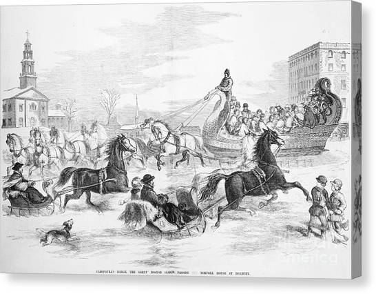 Sleds Canvas Print - Boston: Sleighing, 1856 by Granger