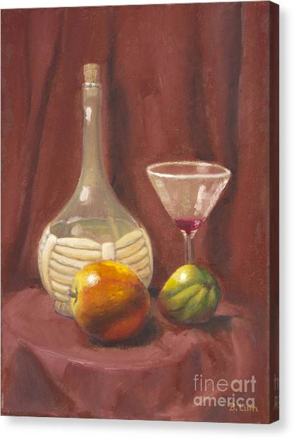 Bottle Glass And Fruits Canvas Print by Bruce Lum