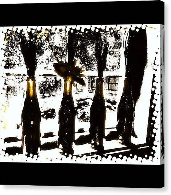 White Wine Canvas Print - #bottle #wine #window #black #trees by Shawna Poulter