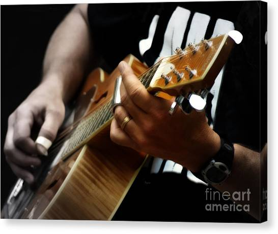 Slide Guitars Canvas Print - Bottling Down Notes by Steven Digman