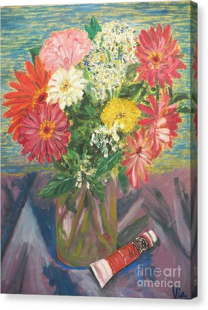 Bouquet With Paint Canvas Print by Judy Via-Wolff