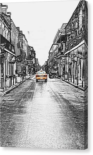 Bourbon St Taxi French Quarter New Orleans Color Splash Black And White Colored Pencil Digital Art Canvas Print