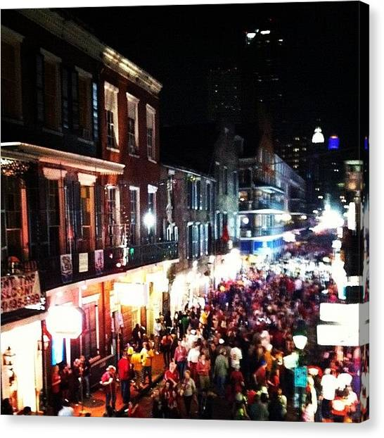 Saints Canvas Print - Bourbon Street by Rachael Sansing