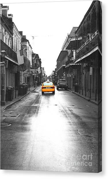 Bourbon Street Taxi French Quarter New Orleans Color Splash Black And White Film Grain Digital Art Canvas Print