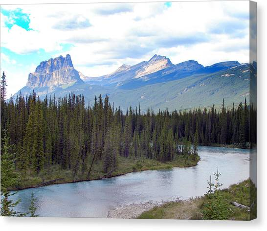 Bow River By Castle Mountain Canvas Print