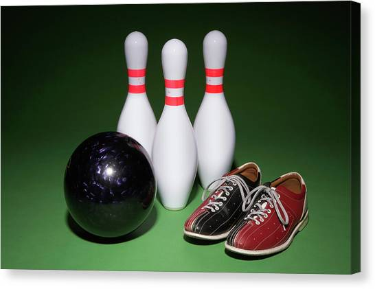 Bowling Shoes Canvas Print - Bowling Ball, Bowling Shoes And Bowling Pins Side By Side by Thomas Northcut