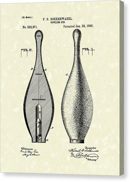 Bowling Pins Canvas Print - Bowling Pin 1895 Patent Art by Prior Art Design