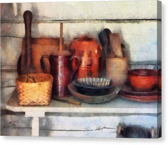 Bowls Basket And Wooden Spoons Canvas Print by Susan Savad