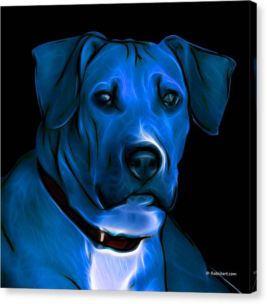 Boxer Pitbull Mix Pop Art-blue Canvas Print by James Ahn