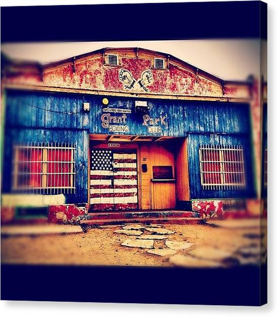 Gym Canvas Print - #boxing #gym #abandoned #flag #graffiti by CactusPete AZ