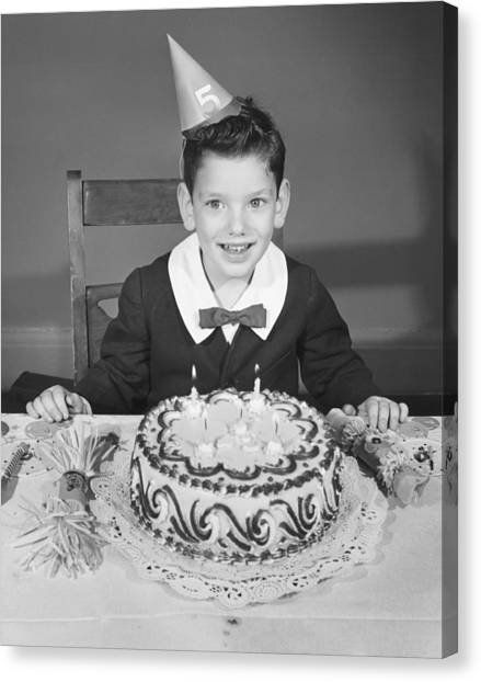 Boy (2-3) In Party Hat With Birthday Cake, (b&w),, Portrait Canvas Print by George Marks