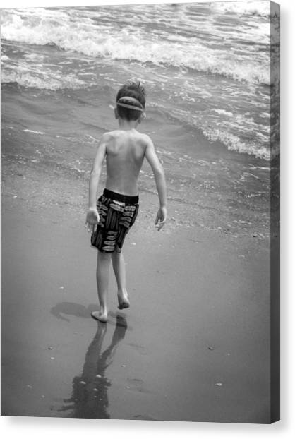 Saltwater Life Canvas Print - Boy At The Ocean by Kelly Hazel