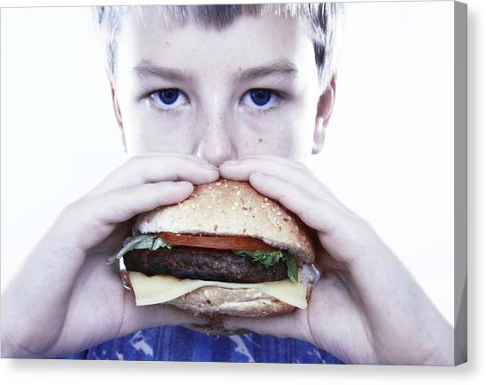 Stuffing Canvas Print - Boy Eating A Burger by Kevin Curtis