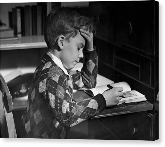 Boy In Classroom W/book Canvas Print by George Marks