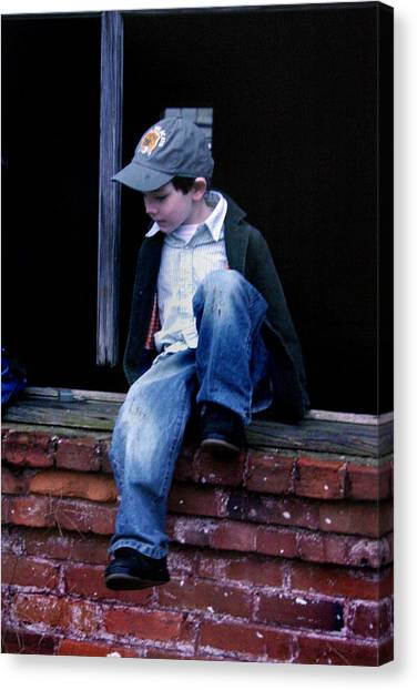 Canvas Print featuring the photograph Boy In Window by Kelly Hazel