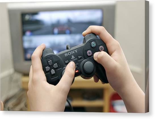 Playstation Canvas Print - Boy Playing A Video Game by Johnny Greig