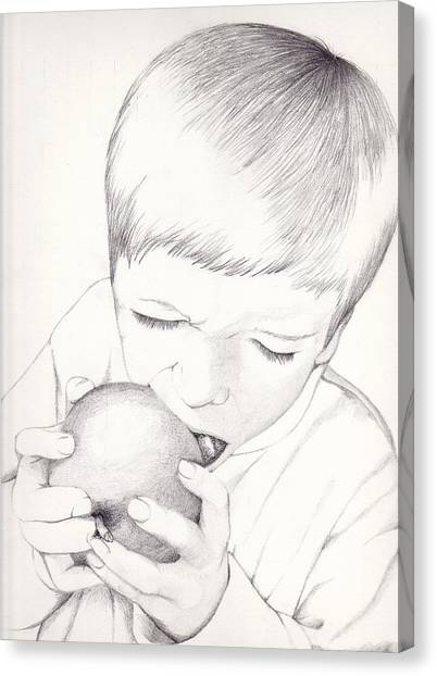 Canvas Print featuring the photograph Boy With Apple by Kelly Hazel