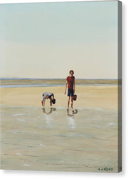 Boys Clamming Canvas Print by Anthony Ross