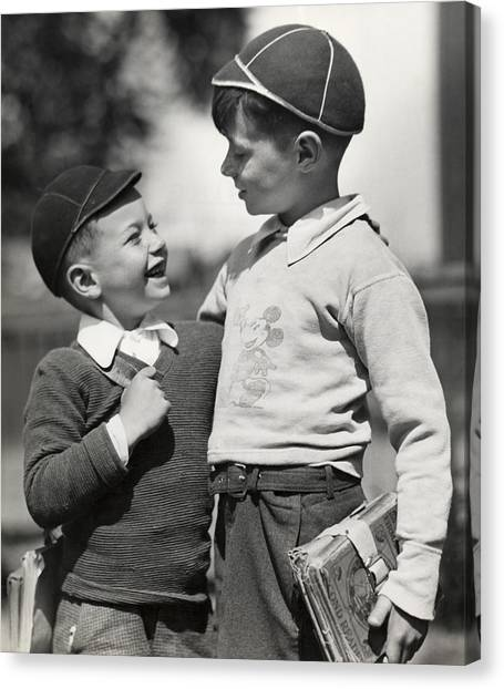 Boys Going To School Canvas Print by George Marks