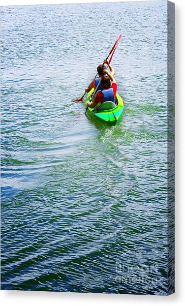 Kayaks Canvas Print - Boys Rowing by Carlos Caetano