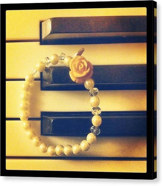 Keyboards Canvas Print - #bracelet #piano #rose #new by Elitsa Bakalova