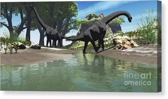 Brachiosaurus Canvas Print - Brachiosaurus Dinosaurs Look For Food by Corey Ford