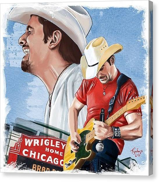 Celebrities Canvas Print - Brad Paisley by Tony Santiago