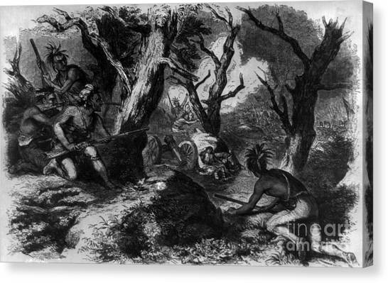 Ohio Valley Canvas Print - Braddocks Defeat, French And Indian by Photo Researchers