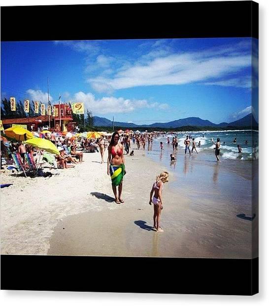 Bikini Canvas Print - #brazil #florenopolis #girl #bikini by Alon Ben Levy