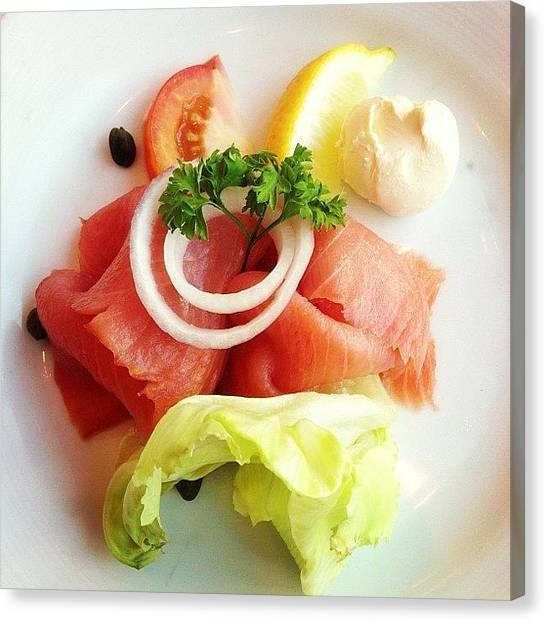 Lettuce Canvas Print - #breakfast #appetizer #smoked #salmon by Jerry Tang