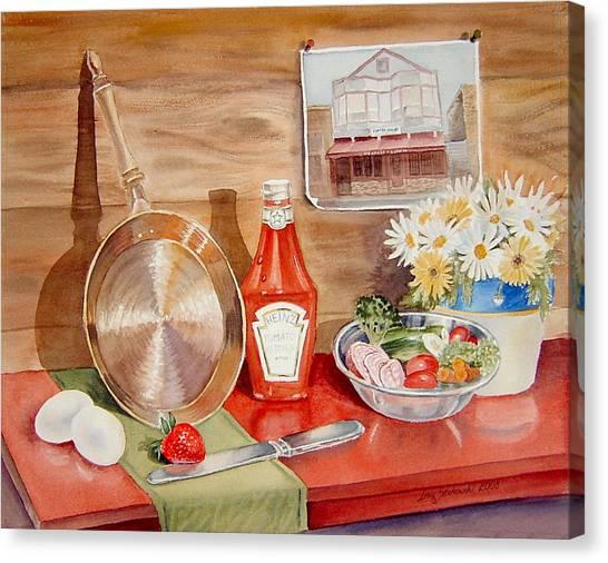 Ketchup Canvas Print - Breakfast At Copper Skillet by Irina Sztukowski