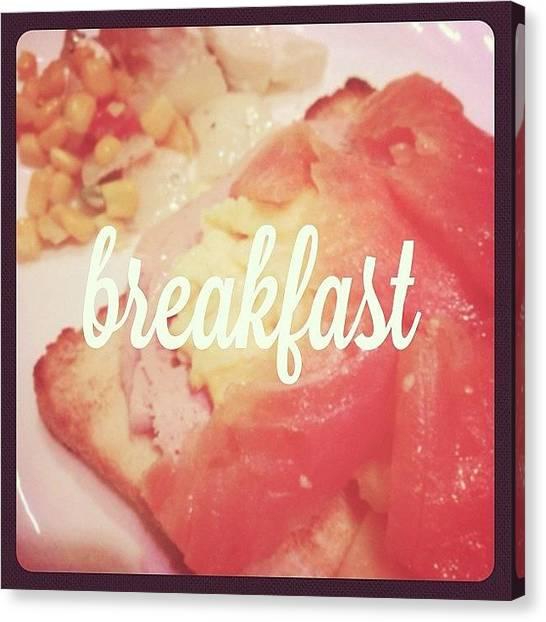 Ham Canvas Print - #breakfast #food #foodporn #salad by Jerry Tang
