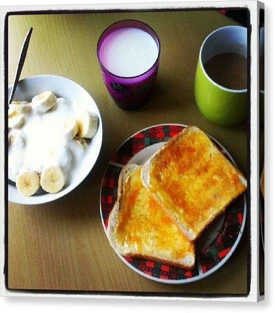 Bananas Canvas Print - Breakfast...#breakfast #jam #yoghurt by Bee Mcmahon