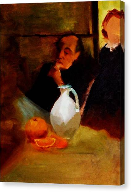 Breaktime With Oranges And Milk Jug Man Deep In Philosophical Thought With Mysterious Boy Servant Canvas Print